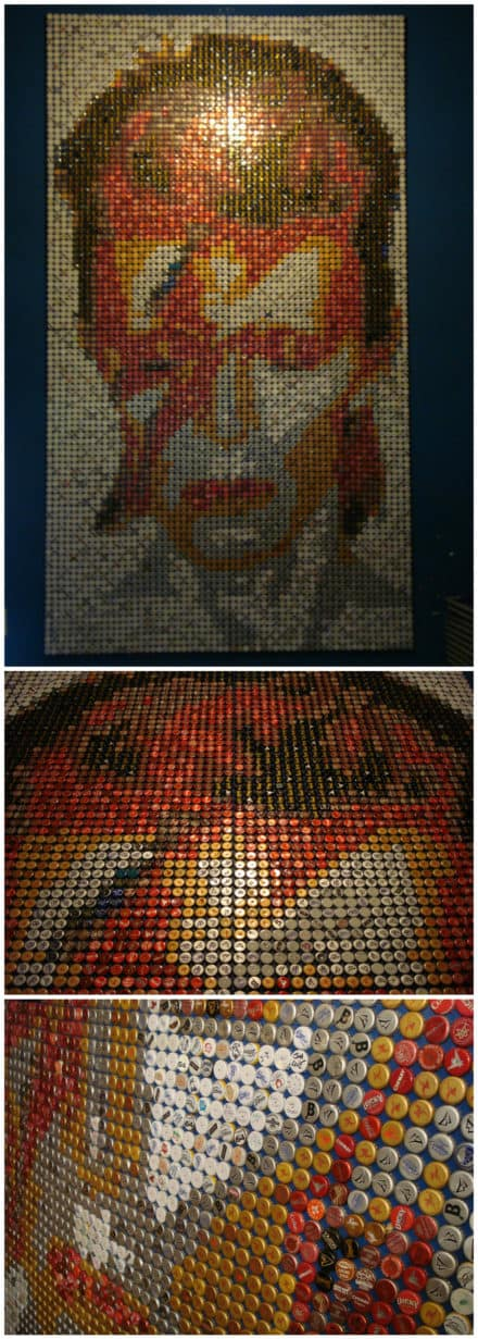 David Bowie Mosaic From Bottle Caps