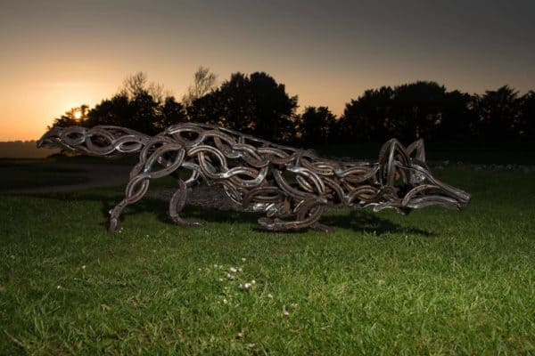 The Celtic Fox: Sculpture From Upcycled Horseshoes Recycled Art