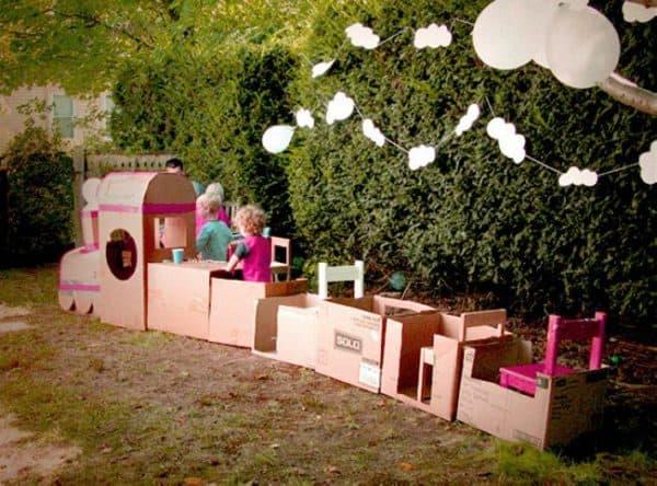Recycled-Cardboard-Train-Art