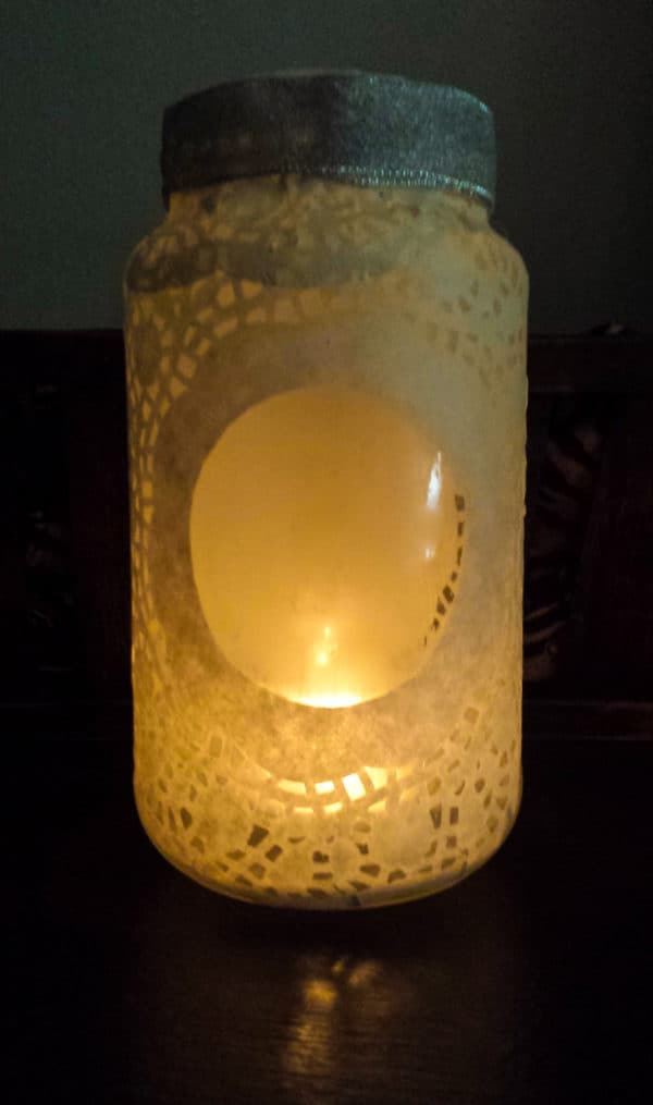 Doily Glass Jar Luminary Do-It-Yourself Ideas Recycled Glass