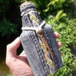 Flasks From Glass Bottles, Old Jeans And Yarn Scraps