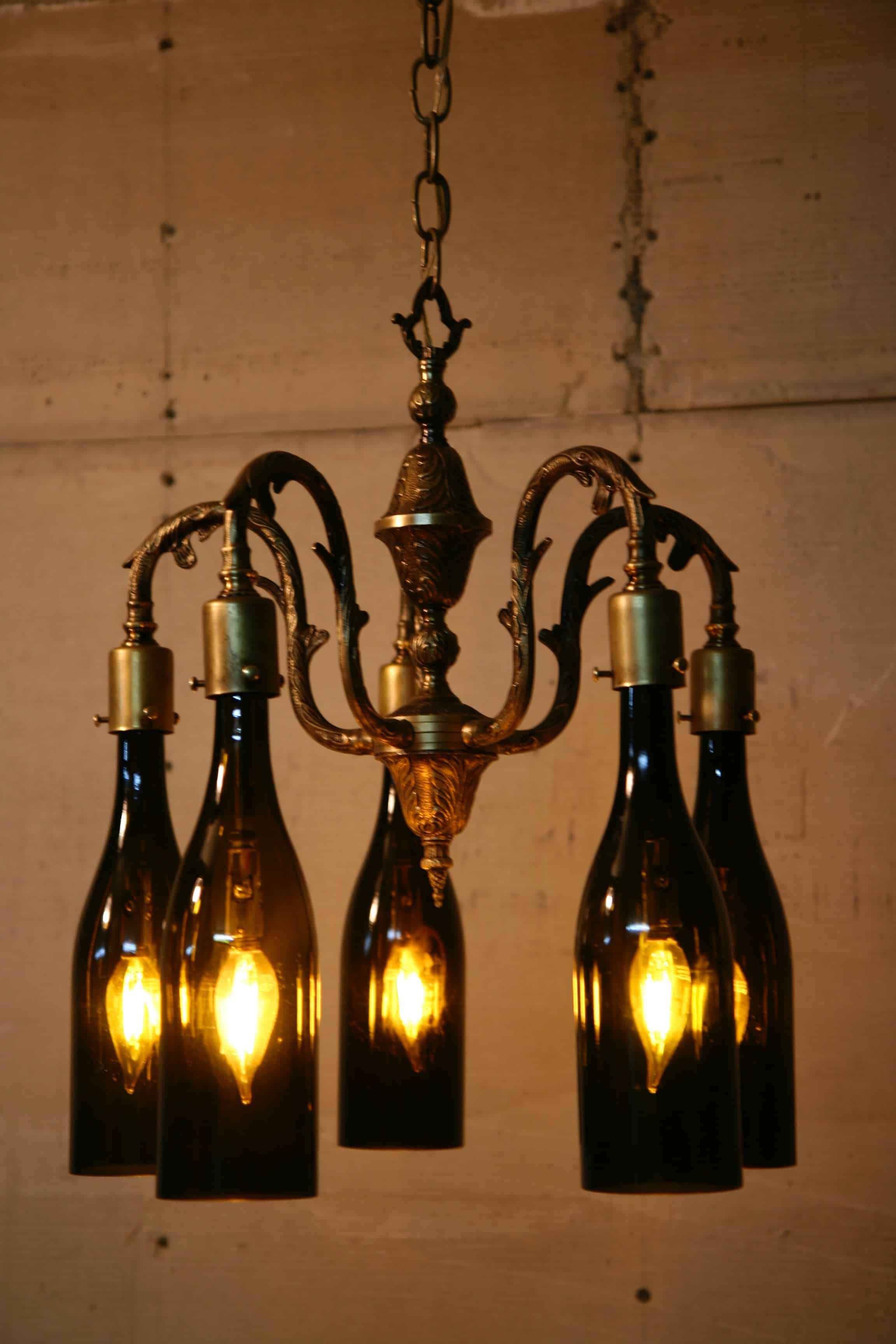Recycled Antique Chandelier Using Wine Bottles As Globes • Recyclart