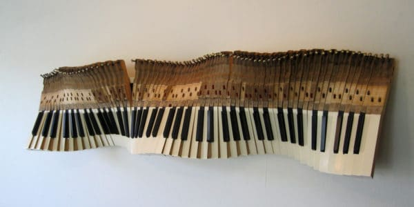 Sound Wave: Sculpture From Old Piano Keys Recycled Art