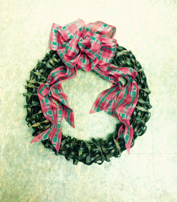 Christmas Wreath From Recycled Twisted Steel Ribbon