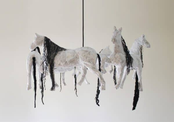 Horse Paper Mache Pendant Lamp Lamps & Lights Recycled Cardboard