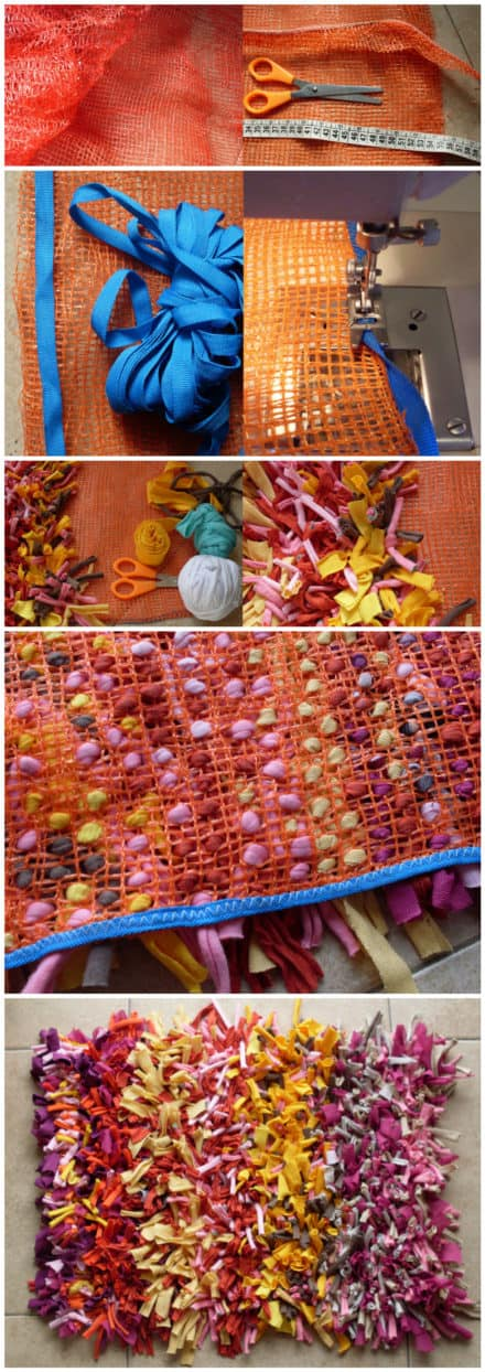 Bolsa De Cebollas Reciclada En Alfombra De Trapillo / Onions Bag Recycled Into Carpet