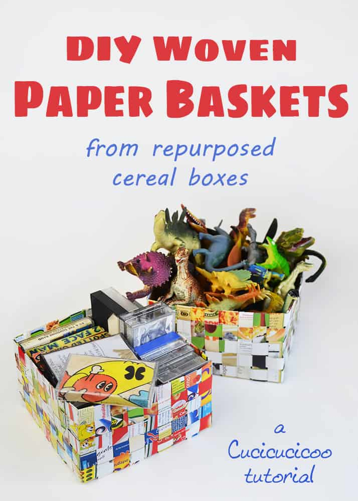 Cereal Box Woven Basket Recyclart