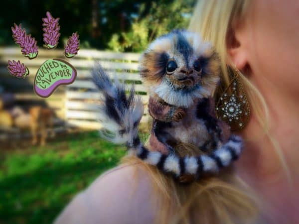 Tekka, Pygmy Marmoset Monkey Out of Upcycled Clothing, Polymer & Wire Recycled Art