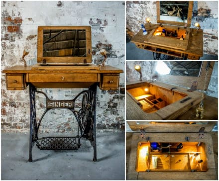 Singer Sewing Table Reconverted / Recycled as Makeup Table