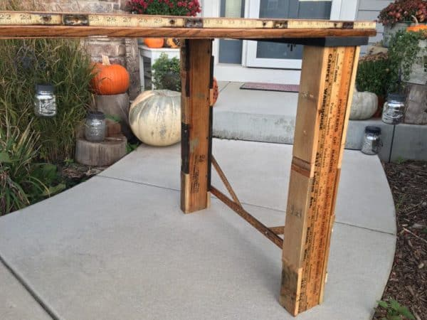 Eclectic – Table Made from Old School House Door, Corn Shucker Gears, Yardstick, Pallets and Machinist Lamp Recycled Furniture