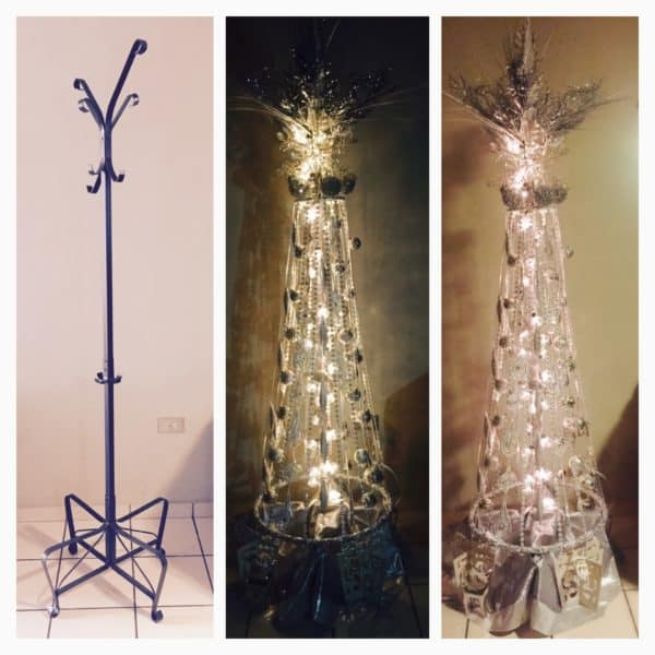 Xmas Tree Made Using a Coat / Purse Rack Do-It-Yourself Ideas Recycled Furniture