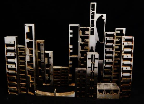 City Scape Recycled Art