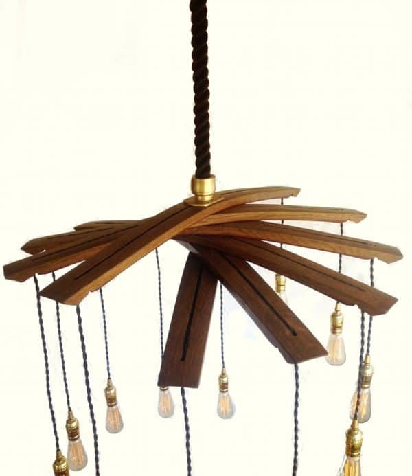 Lucciole, Recycled Wine Barrel Staves Large 12 Lights Chandelier