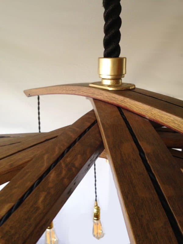 Lucciole, Recycled Wine Barrel Staves Large 12 Lights Chandelier Lamps & Lights Wood & Organic