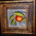 Upcycled Tin Ceiling Tile Handpainted Apple Art