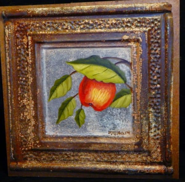 Upcycled Tin Ceiling Tile Handpainted Apple Art Recycled Art Recycling Metal