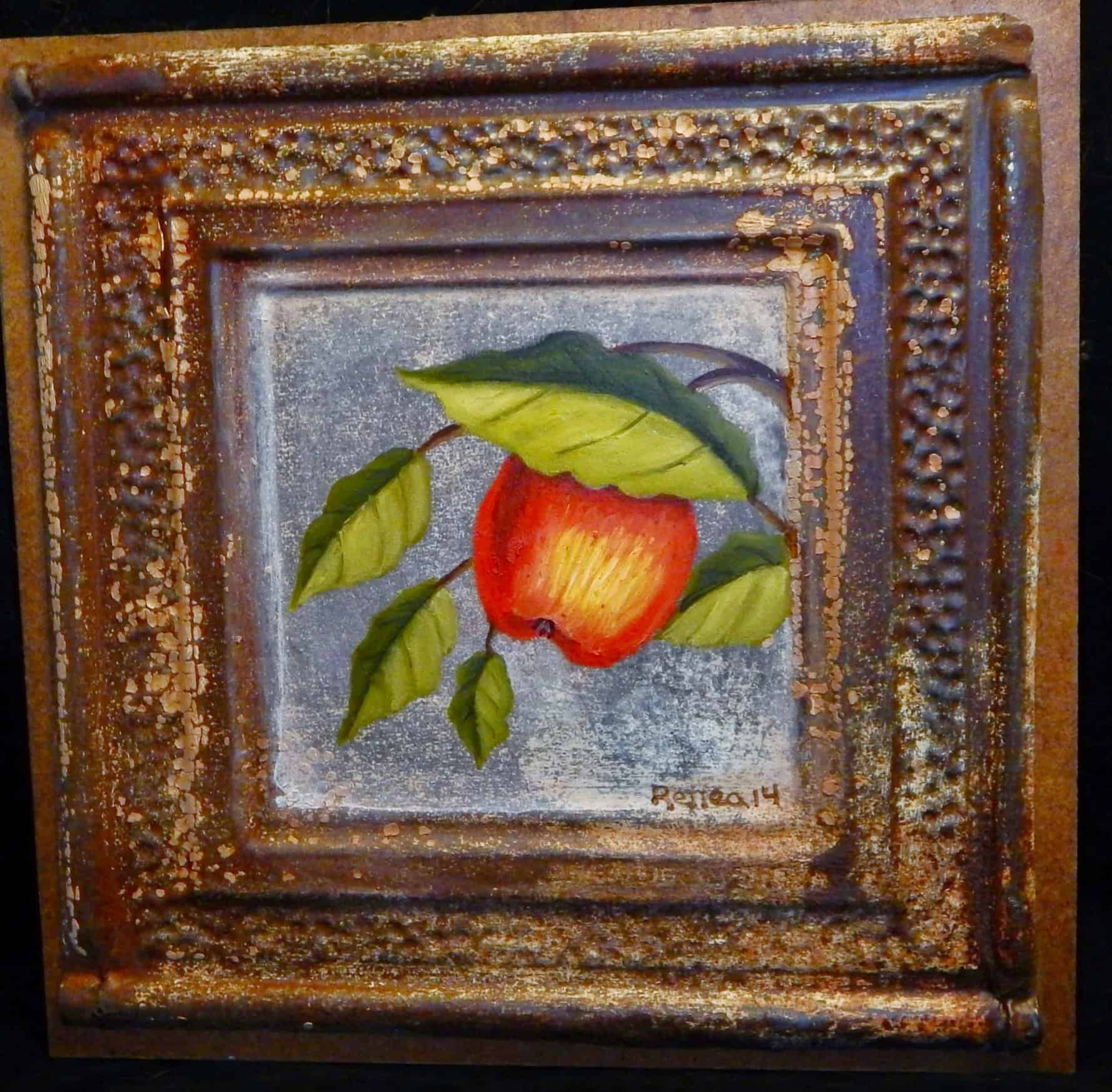 Upcycled tin ceiling tile handpainted apple art recyclart dailygadgetfo Choice Image