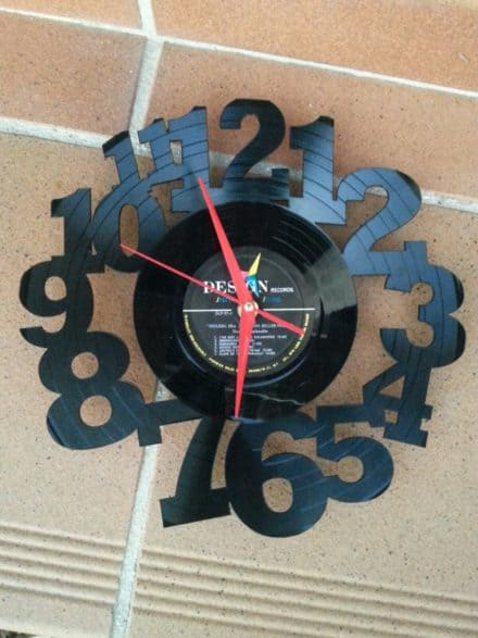 Upcycled 12″ Vinyl Record Into Wall Clock