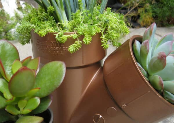 Plastic Plumbing Planters Have Steampunk Feel Garden Ideas Recycled Plastic