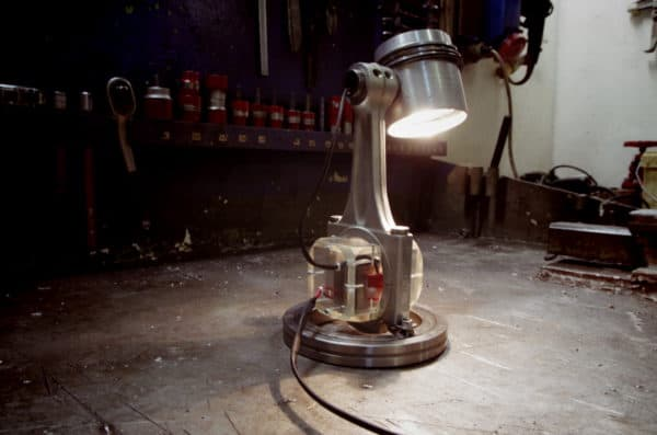 Recycled Engine Parts Into Desk Lamp