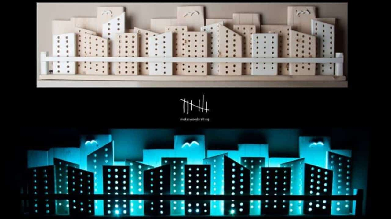Rgb Backlit Recycled Wooden City Wall Art • Recyclart