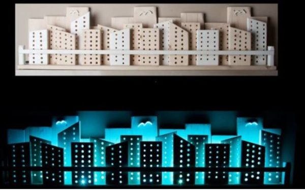 Rgb Backlit Recycled Wooden City Wall Art Lamps & Lights Wood & Organic