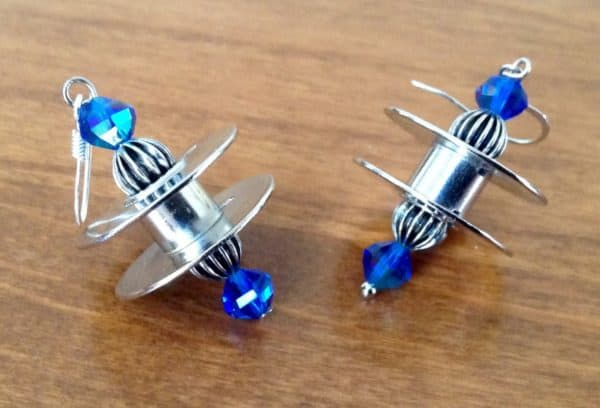 Upcycled Sewing Machine Bobbins Into Earrings Upcycled Jewelry Ideas