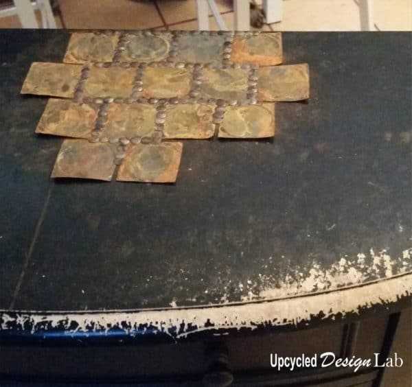 Upcycled Tin Can Lid Table Top Cover Up – Episode 4 of Dogs Vs Cats Recycled Furniture