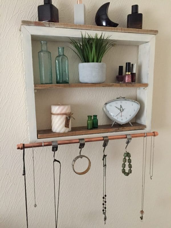 Upcycled Wood Shelving Unit Has Copper Towel Rack Recycled Pallets Wood & Organic