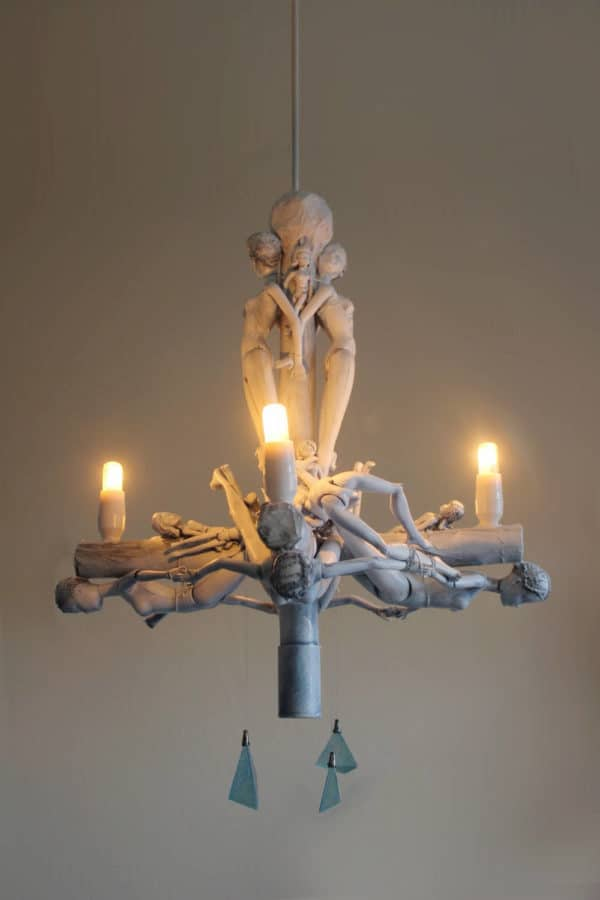 Upcycled Doll Chandelier1