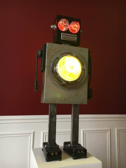 Luminous Upcycled Robot Sculpture Made From Junk