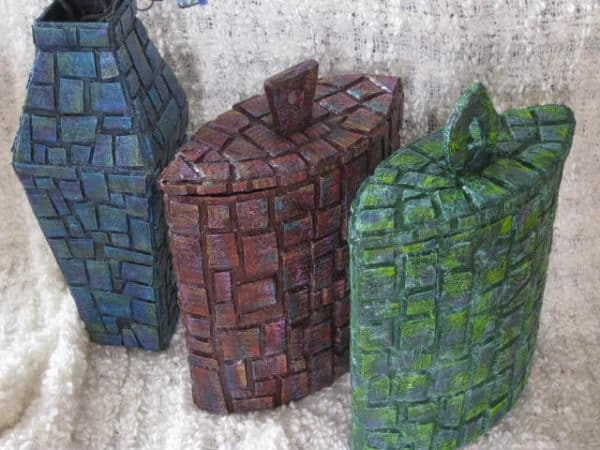 Cardboard Mosaic Containers Are Amazing! Recycled Cardboard Recycled Packaging Recycling Paper & Books