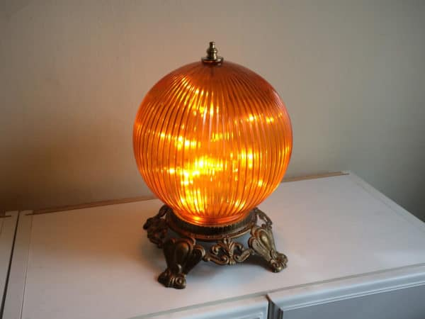 Funky Orange Globe Night Light Or Bedside Table Lamp Lamps & Lights Recycled Glass