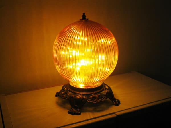 Funky Orange Globe Night Light Or Bedside Table Lamp