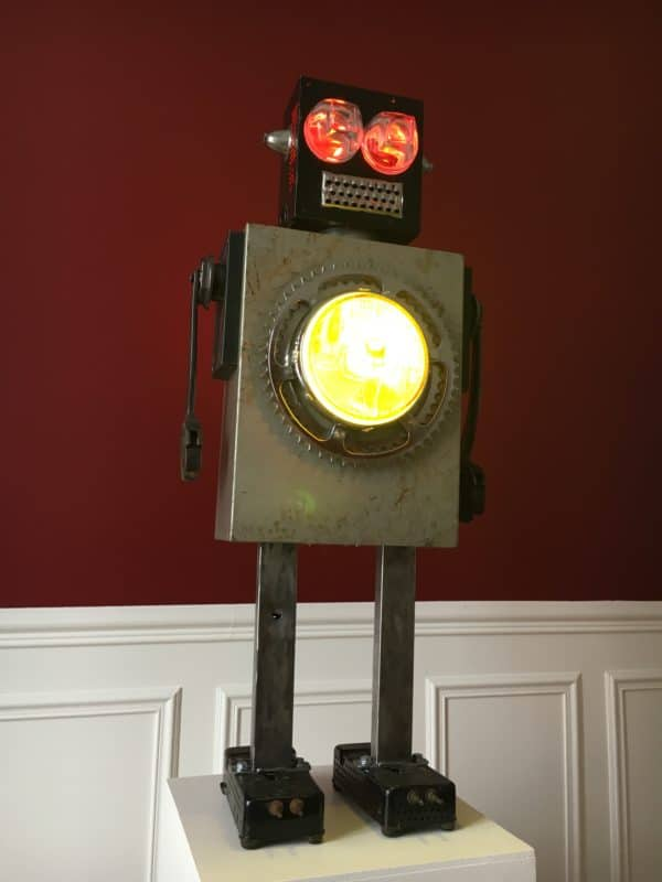 Luminous Upcycled Robot Sculpture Made From Junk Recyclart