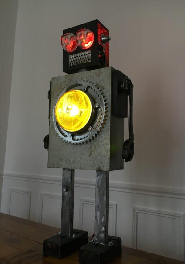 Luminous Upcycled Robot Sculpture Made From Junk Lamps & Lights Recycled Art Recycling Metal