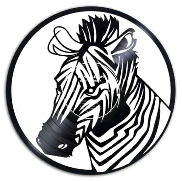 Zebra carving Recycled Vinyl Records.