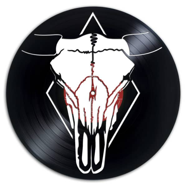 A south-western cow skull makes a beautiful Recycled Vinyl Records piece.