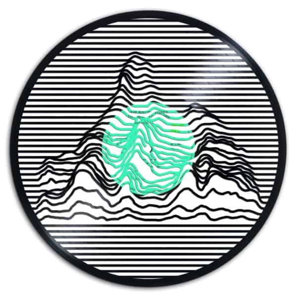 A mountain range as one of the Recycled Vinyl Records.