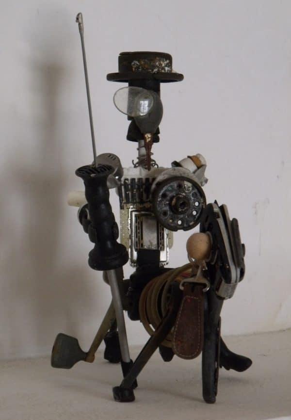 Don Quijote De La Mancha Upcycled Scrap Sculpture