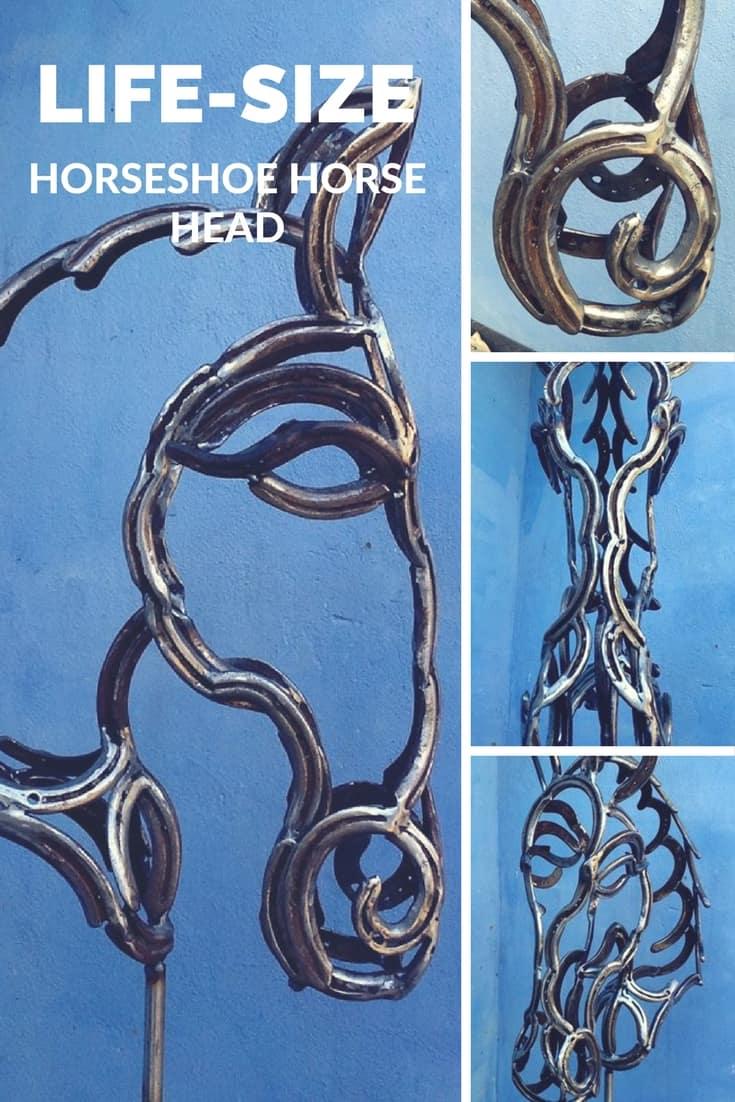 Life-size Horse\'s Head Horseshoe Sculpture • Recyclart