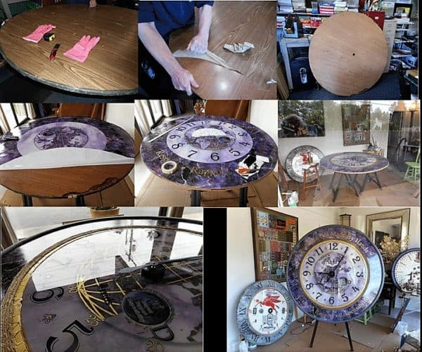 Table Transformed Into Beautiful Oversized Clock!