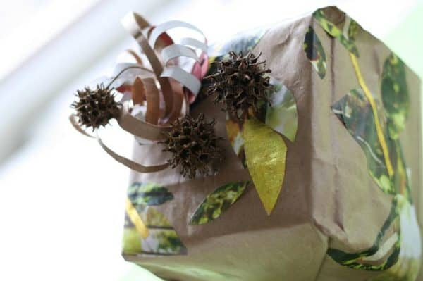 Wrapping Ideas go natural and use tree parts, like leaves and seed pods as part of your natural wrapping idea. A great gift for that gardener!