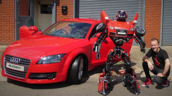 This Audibot is made from a ride-upon toy car, a pressure washer and more upcycled parts.