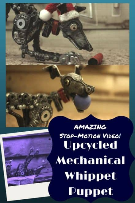 Stop-motion Video:  Upcycled Mechanical Whippet Puppet