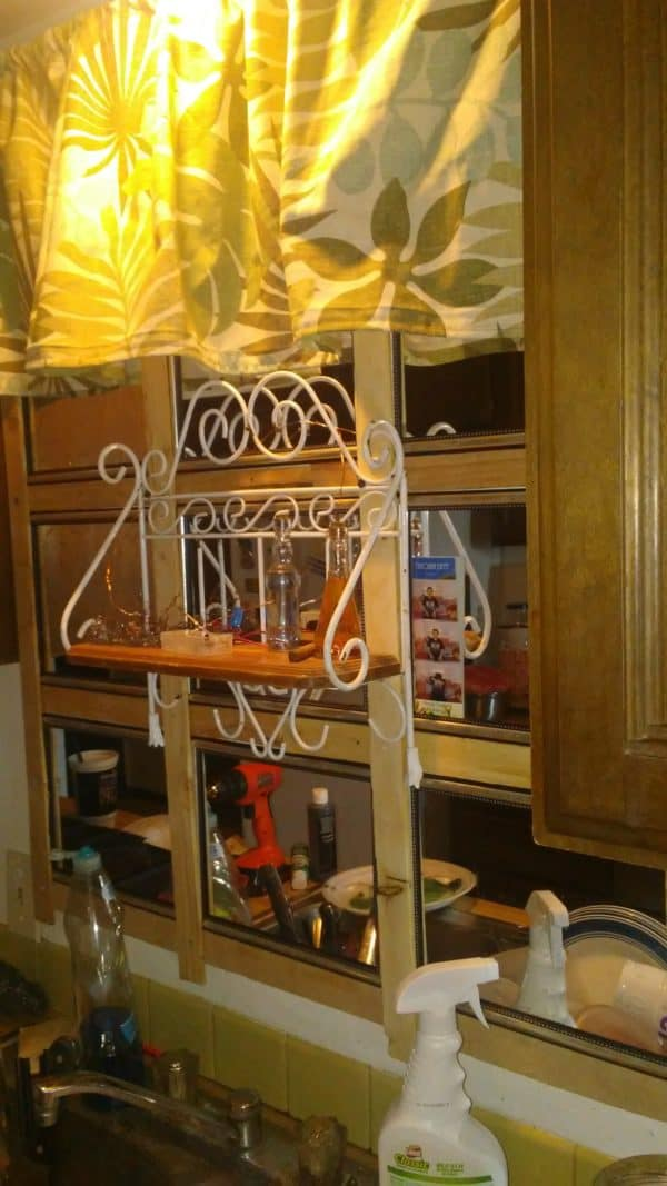 Here's the finished project - my Kitchen Mirror - with a decorative shelf installed.