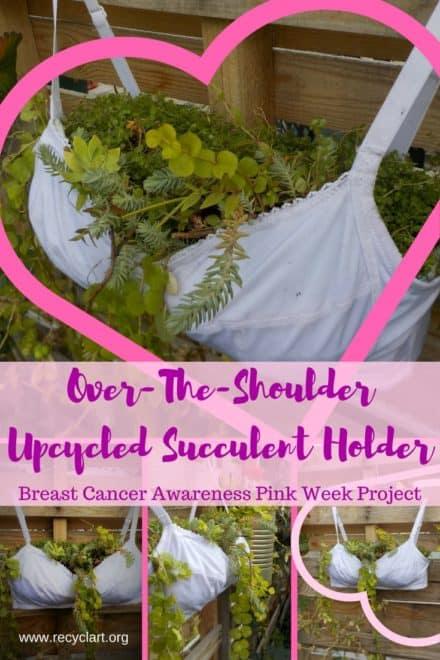 Breast Cancer Awareness Upcycled Bra Planter/Drôle De Jardinière