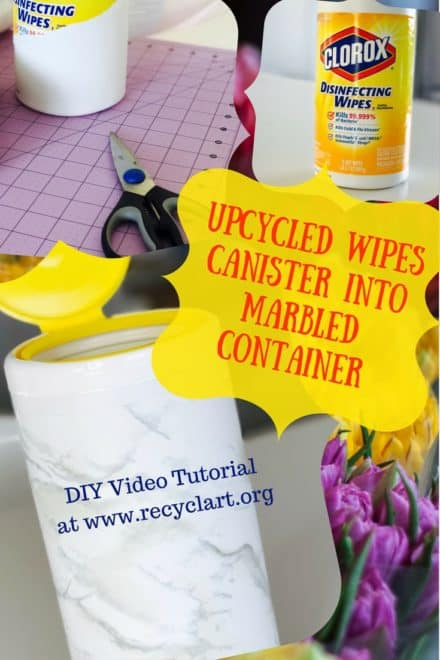 Diy Video Tutorial: Marbled Disinfecting Wipes Bottle