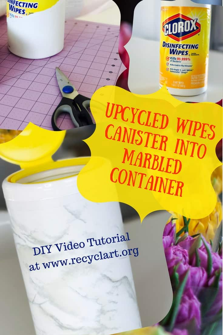 Diy Video Tutorial Marbled Disinfecting Wipes Bottle Recyclart