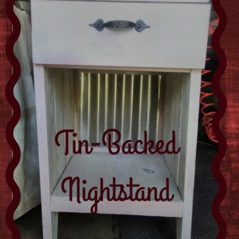Pine Nightstand Backed Using Corrugated Tin Panel